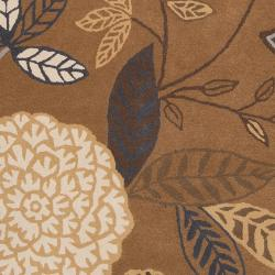 Harlequin Hand-tufted Brown Opaque Floral Wool Rug (8' x 10') - Thumbnail 2