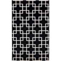 Hand-knotted Contemporary Black/White Indescent Semi-Worsted New Zealand Wool Geometric Area Rug - 5' x 8'