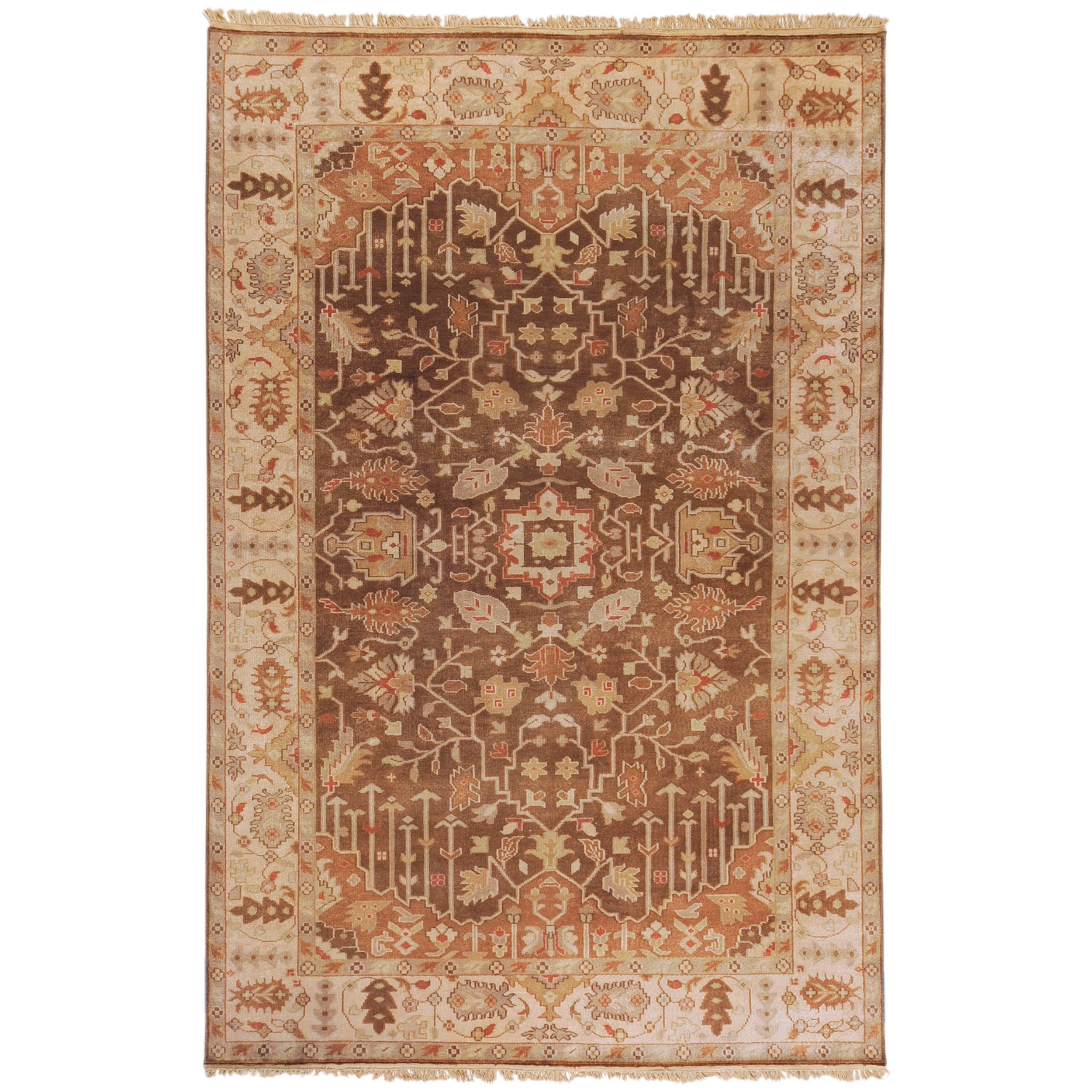 Hand-knotted Brown Itemide Semi-Worsted New Zealand Wool Area Rug - 8' x 11'