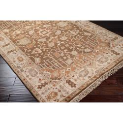Hand-knotted Brown Itemide Semi-Worsted New Zealand Wool Rug (8' x 11')