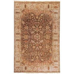 Hand-knotted Brown Itemide Semi-Worsted New Zealand Wool Area Rug (8' x 11') - Thumbnail 0