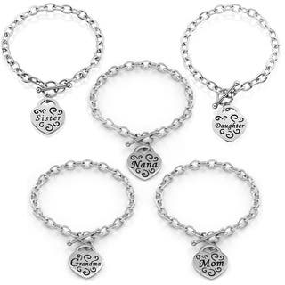 Stainless Steel Engraved Heart Bracelet with Toggle closure|https://ak1.ostkcdn.com/images/products/6682274/P14237786.jpg?impolicy=medium