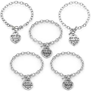 Stainless Steel Engraved Heart Bracelet with Toggle closure