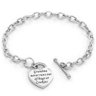 Stainless Steel Engraved Heart Bracelet with Toggle closure (5 options available)
