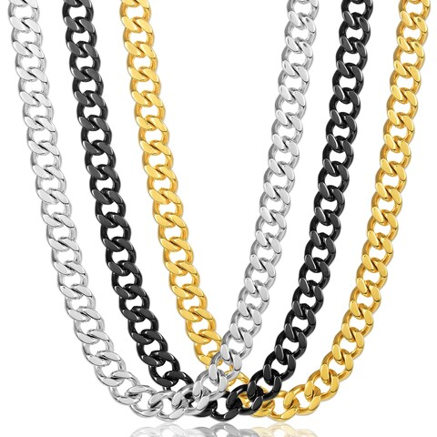 Crucible Polished Stainless Steel Curb Chain Necklace (12mm Wide)