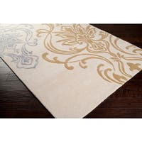 """Hand-tufted White Cane Damask Design Wool Area Rug - 2'6"""" x 8'"""