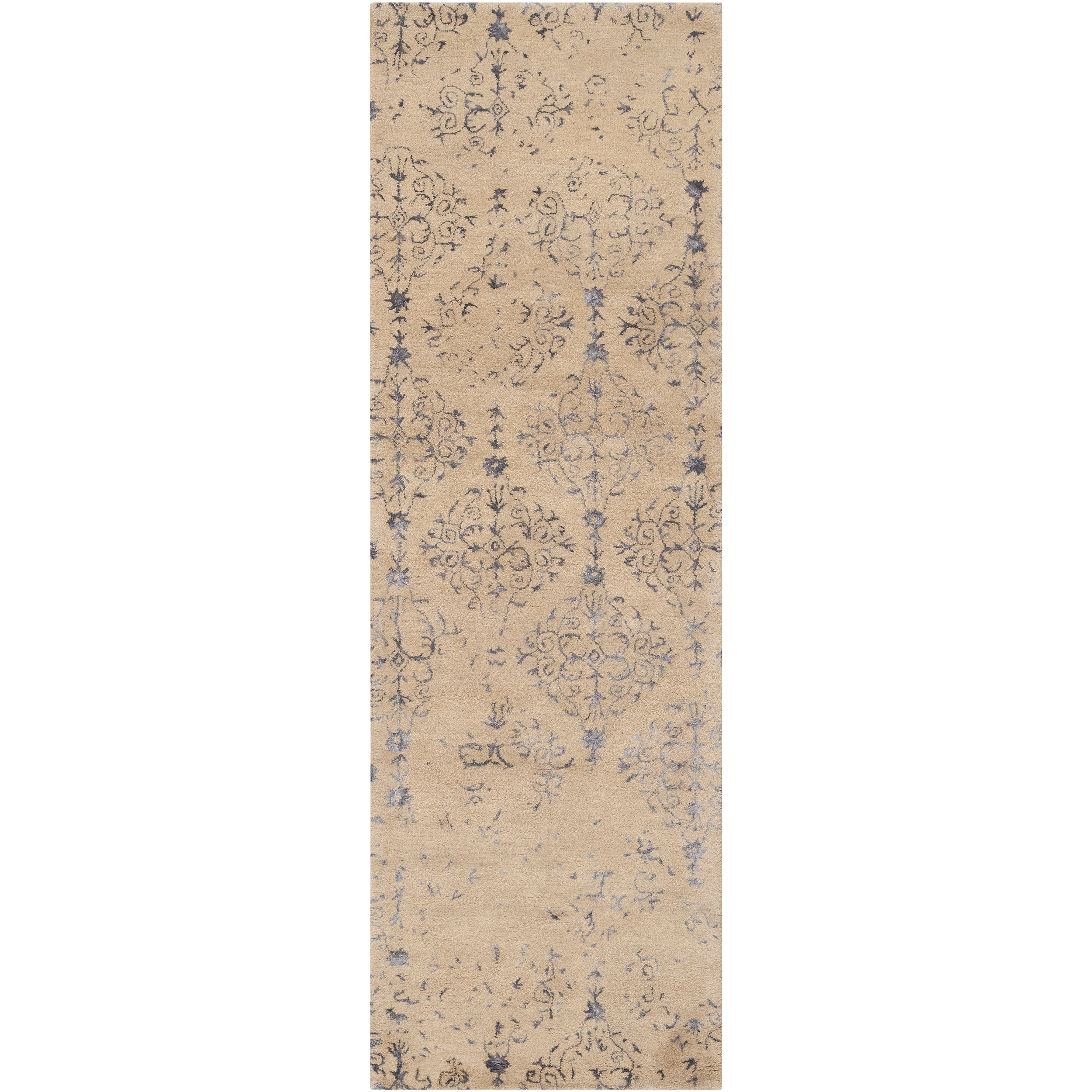 Hand-tufted Contemporary Navy Blue Accented Branded New Zealand Wool Abstract Rug (2'6 x 8')