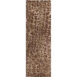 Hand-tufted Contemporary Beige Branded New Zealand Wool Abstract Rug (2'6 x 8')