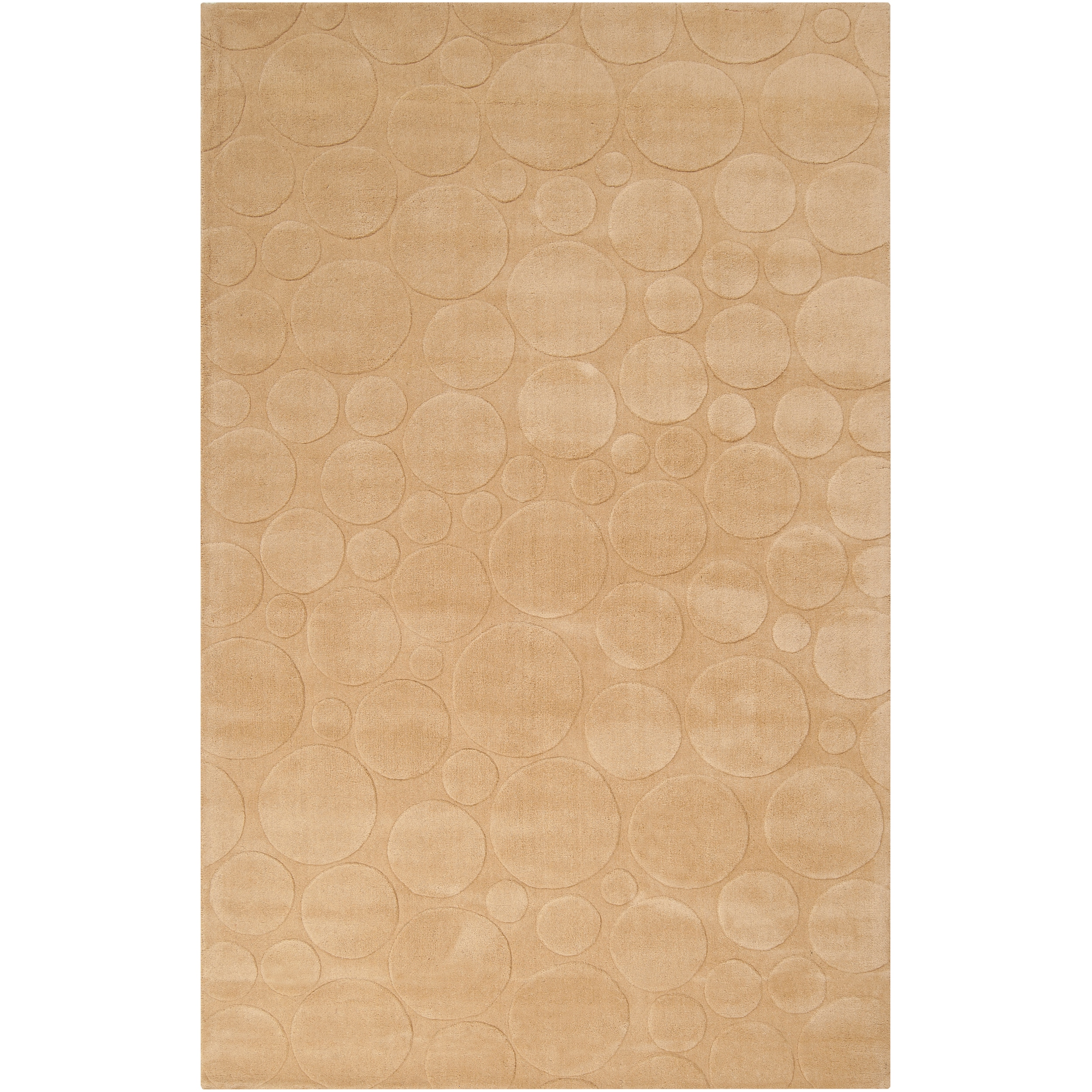 Loomed Tan Scrumptious Geometric Circles Indoor Wool Rug (5' x 8') - Thumbnail 0