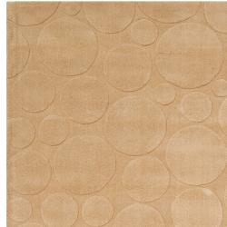 Loomed Tan Scrumptious Geometric Circles Indoor Wool Rug (5' x 8') - Thumbnail 1