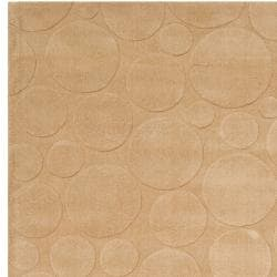 Loomed Tan Scrumptious Geometric Circles Indoor Wool Rug (5' x 8')