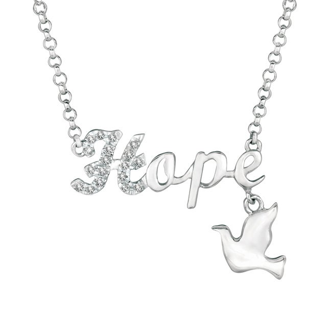 Silver Diamond Accent Word and Charm Necklace (Faith), Wo...