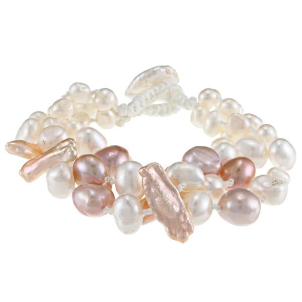 6a2b3d856 Shop Pink and White Freshwater Baroque and Biwa Pearl Bracelet (5-11 ...