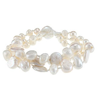 White Freshwater Baroque and Coin Pearl Bracelet (5-12 mm)