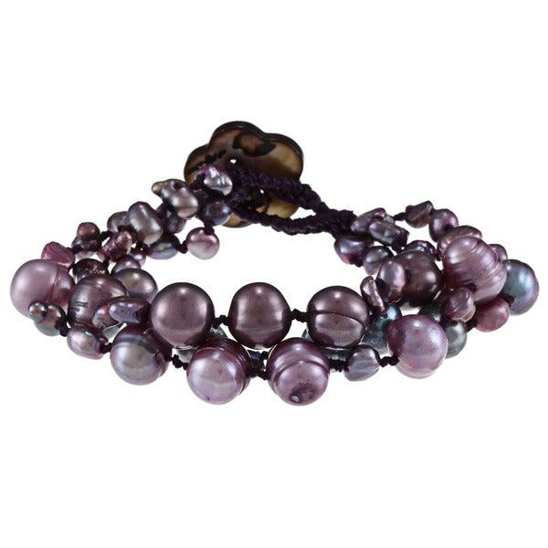 Dark Grey and Purple FW Baroque and Potato Pearl Bracelet (4-10 mm)