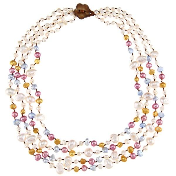 Multi-colored FW Baroque Pearl Multi-strand Necklace (5-11 mm)