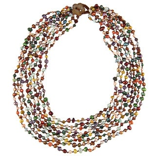 Multi-colored Freshwater Pearl Multi-strand Necklace (4-5 mm)