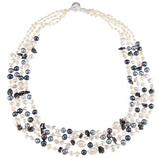 Blue and White Freshwater Pearl Multi-strand Necklace (6-11 mm)