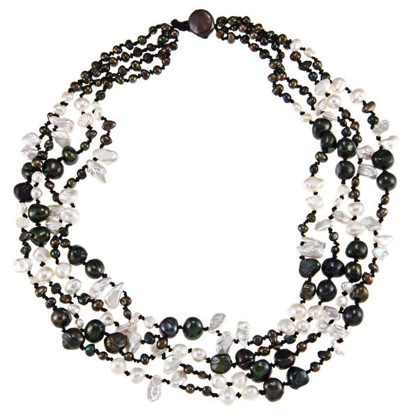 Peacock and White Freshwater Pearl Multi-strand Necklace (4-11 mm)