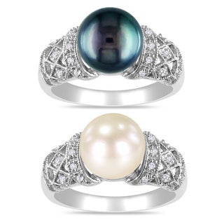 Miadora Sterling Silver Pearl and 1/10ct TDW Diamond Ring (H-I, I3) (9-9.5 mm) (5 options available)