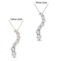 Auriya 14k Gold 1/2ct TDW Round Diamond Journey Necklace (J-K, I1-I2)