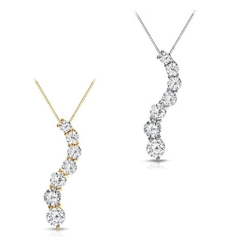 Auriya 14k Gold 1/2ct TDW Round Diamond Journey Necklace