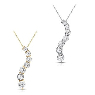 Auriya Curved 7-Stone Diamond Journey Necklace 1/2ct TDW 14k Gold