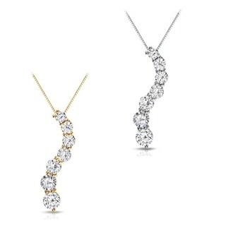 Auriya 14k Gold 1/2ct TDW Round Diamond Journey Necklace