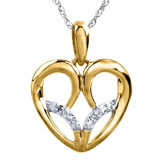 Bridal Symphony 10k Gold Diamond Accent 18-inch Open Heart Necklace