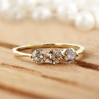 Auriya 10k White Gold 3/4ct TDW 3-Stone Diamond Stackable Wedding Anniversary Ring