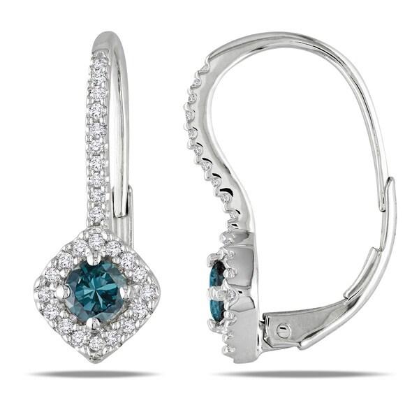 Miadora 10k White Gold 1/2ct TDW Blue and White Diamond Earrings (I1-I2)