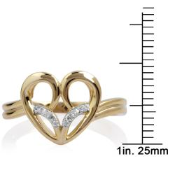 10k Gold Diamond Accent Fashion Heart Ring
