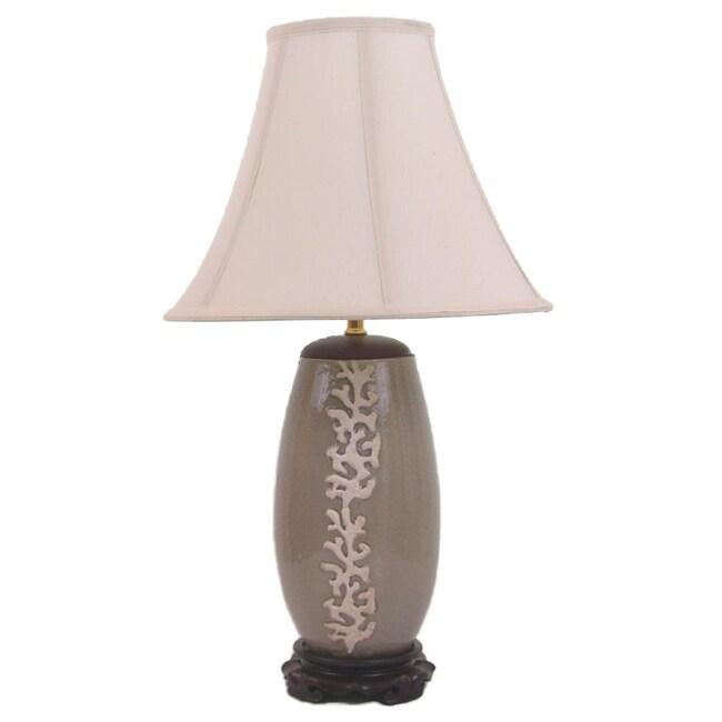 Crown Lighting 1-light Coral Raised Motif on Grey Crackle Porcelain Table Lamp