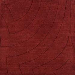 Candice Olson Loomed Red Scrumptious Geometric Plush Wool Rug (5' x 8')