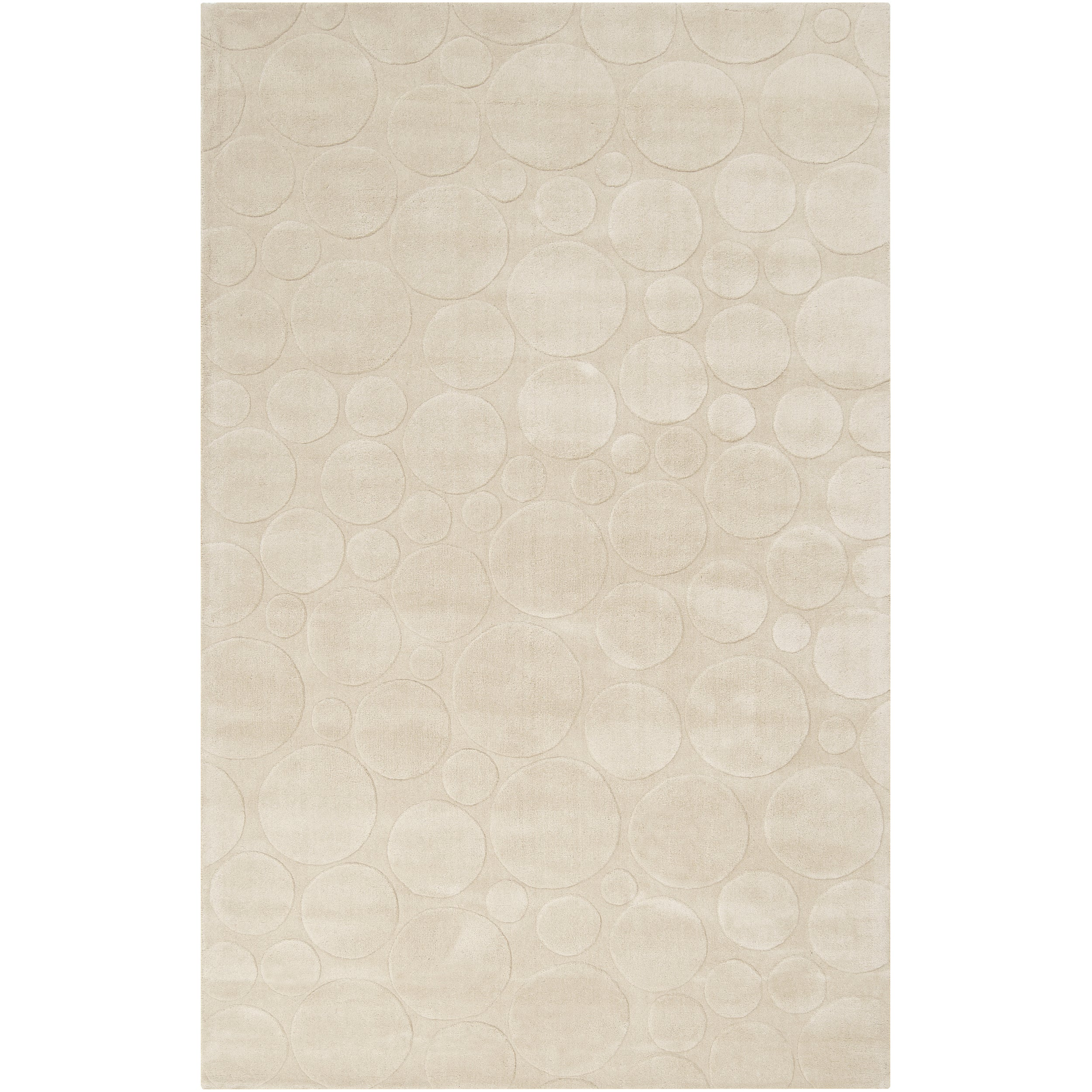 Candice Olson Loomed Ivory Scrumptious Geometric Circles Transitional Wool Rug (5' x 8')