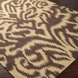 Hand-woven Brown Sugarford Wool Rug (5' x 8')