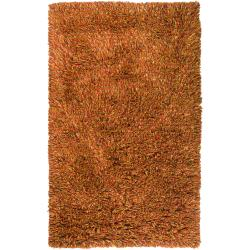 Hand-woven Red Ratford New Zealand Wool Shag Rug (8' x 10')