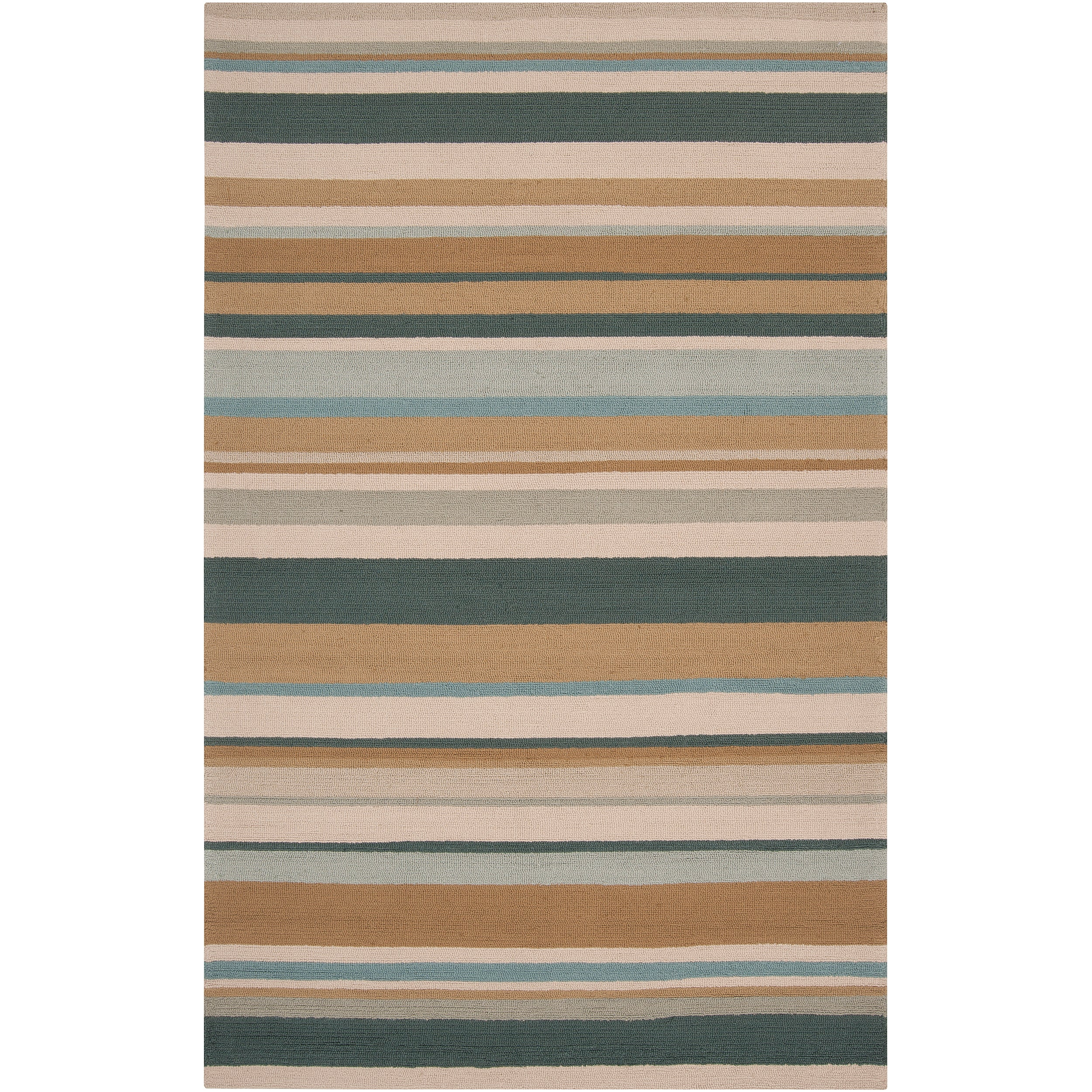 Hand-hooked Blue Radiant Indoor/Outdoor Stripe Rug (3' x 5') - Thumbnail 0