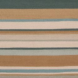 Hand-hooked Blue Radiant Indoor/Outdoor Stripe Rug (3' x 5') - Thumbnail 2