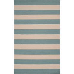 Hand-hooked Blue Radiant Indoor/Outdoor Stripe Rug (3' x 5')