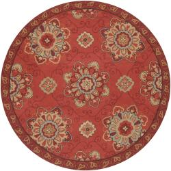 Hand-hooked Red Radiant Indoor/Outdoor Medallion Rug (8' Round)