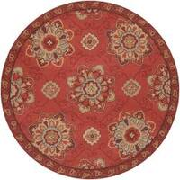 Hand-hooked Red Radiant Indoor/Outdoor Medallion Area Rug (8' Round)