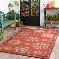 Hand-hooked Red Radiant Indoor/Outdoor Medallion Area Rug - 8' Round