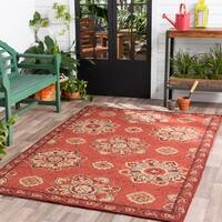 Hand-hooked Red Radiant Indoor/Outdoor Medallion Area Rug - 3' x 5'