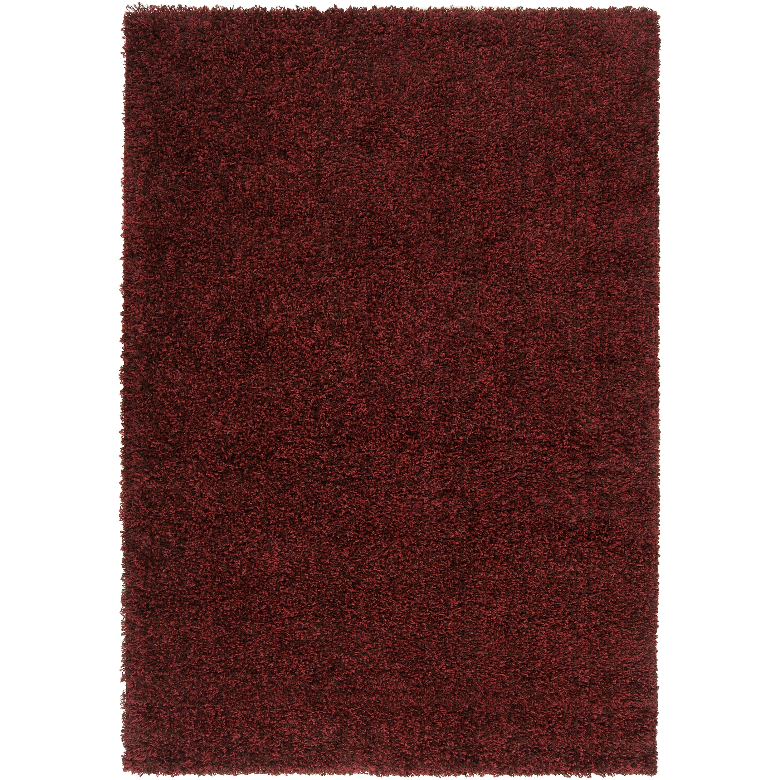 "Woven Burgundy Luxurious Soft Transitional Shag Rug (5'3"" x 7'6"")"