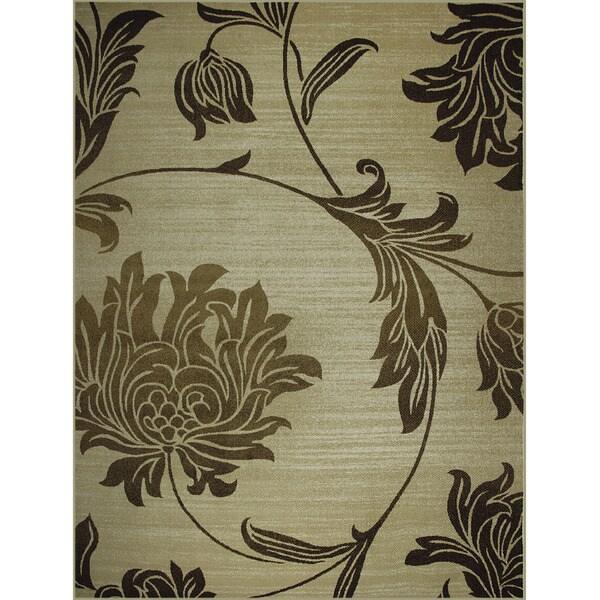 Somette Avante Peony Bouquet Beige Rug (9' x 12')