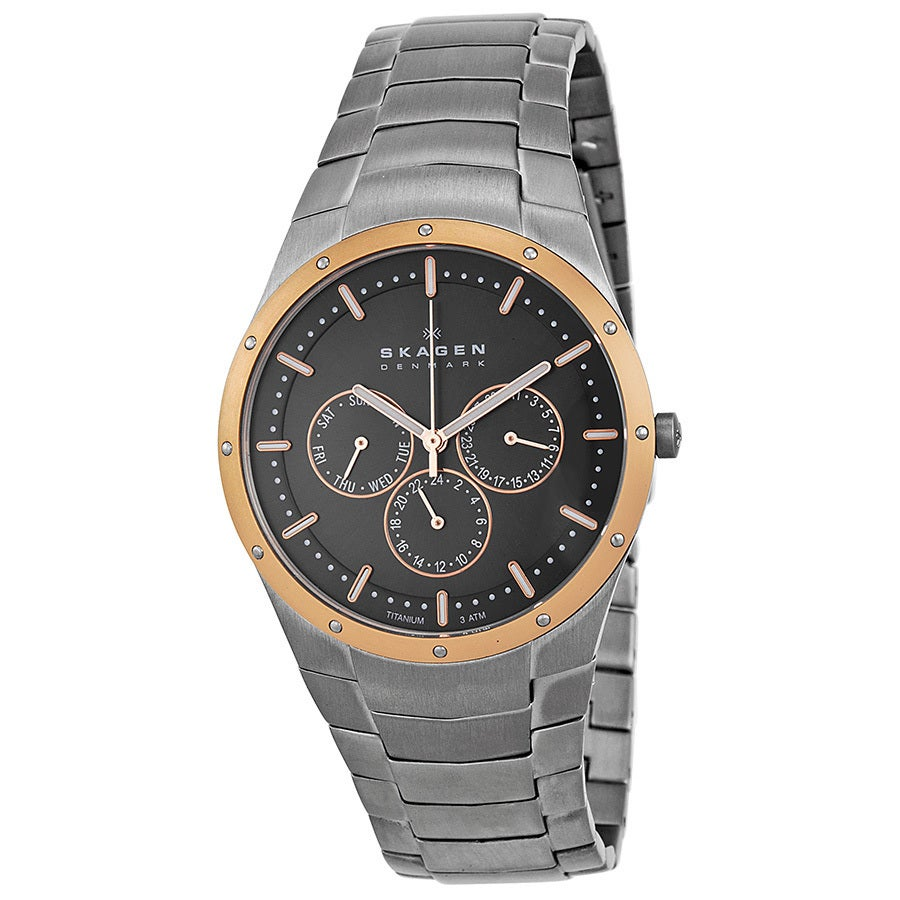 Skagen Men's Rose-gold Titanium Watch (Black Dial), Size ...