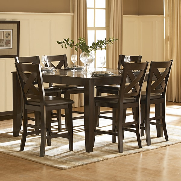 7 Piece Counter Height Dining Room Sets: Shop Acton Merlot X-back 7-piece Counter Height Dining Set