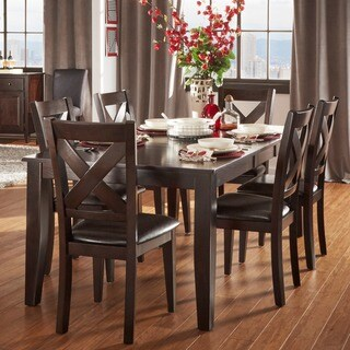 Acton Warm Merlot X-back Casual 7-piece Extending Dining Set by iNSPIRE Q Classic