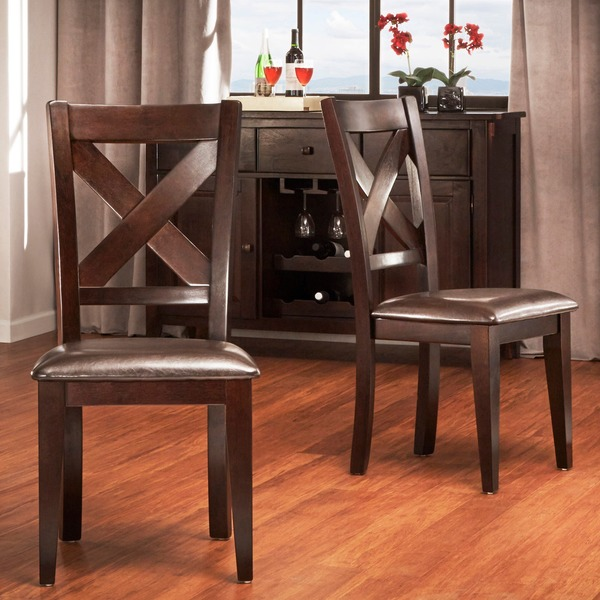 Tribecca Home Acton Warm Merlot X Back Casual Dining Side: Acton Warm Merlot X-back Casual Dining Chairs (Set Of 2
